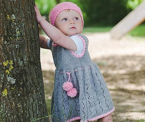 Mädchenkleid Oma Heike grau/rosa