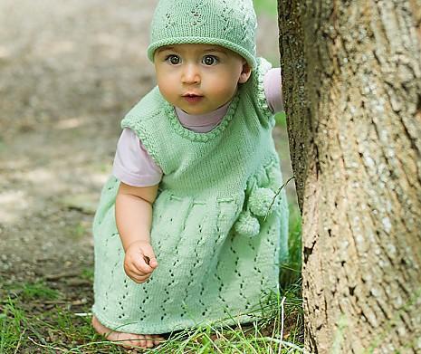 Set Mädchenkleid & -mütze Oma Heike